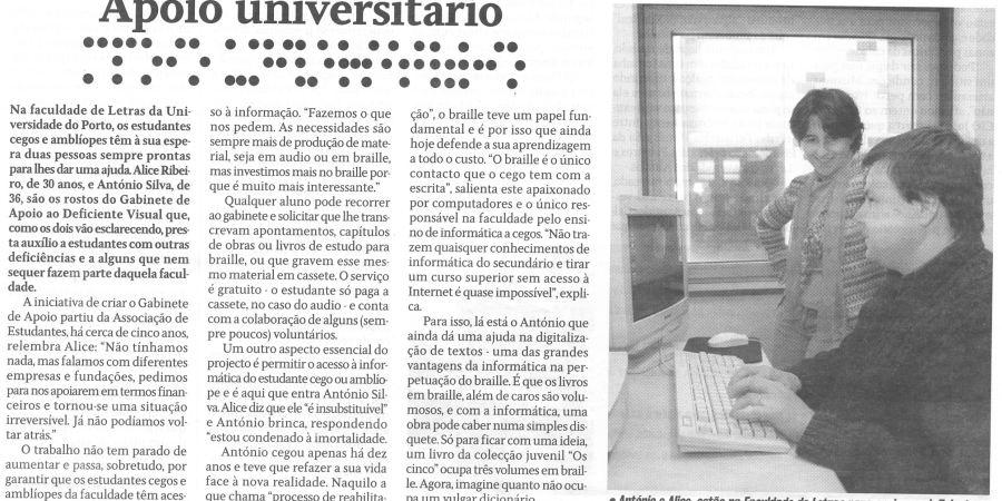 """(84) """"Apoio universitário"""" - 2000 05 11 CPorto ...-370r"""