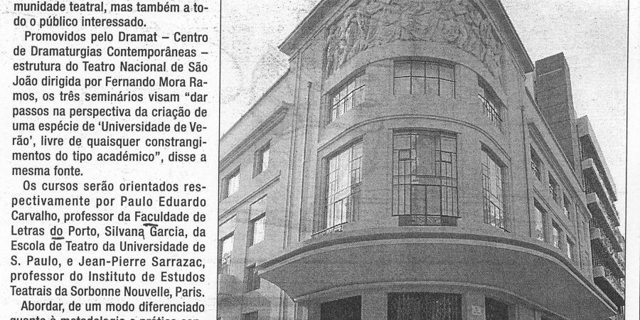 """(82) """"Porto: Rivoli abre as portas para ensinar drama no Verão"""" - 2000 06 03 24Horas 12-310r"""