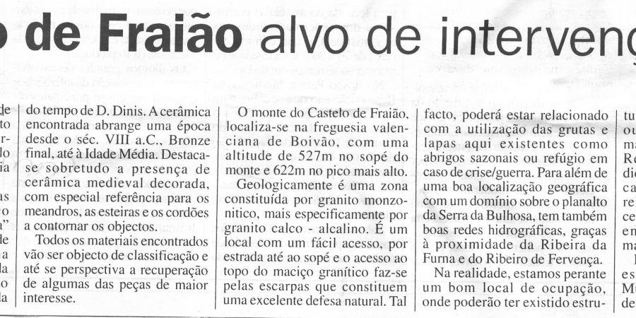 """(81) """"Castelo de Fraião alvo de intervenção"""" - 2000 06 03 OCaminhense 15-210r"""
