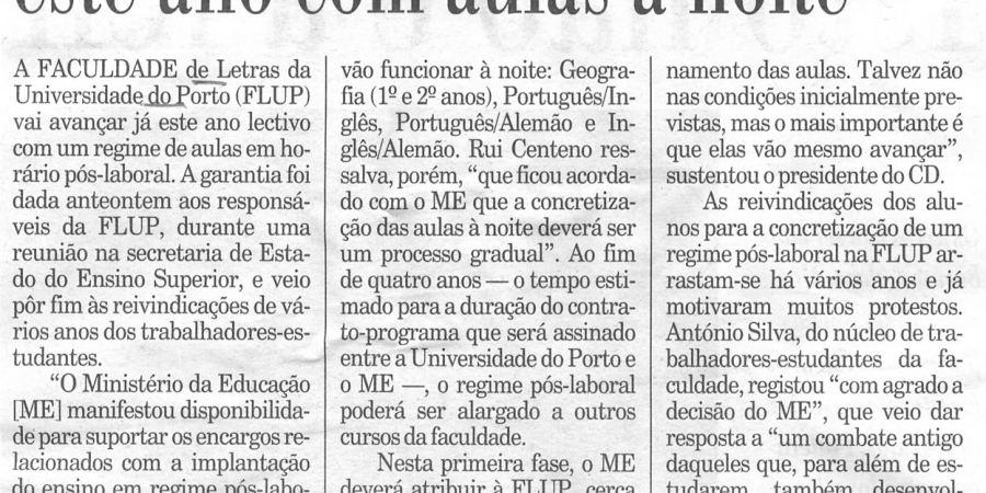 """(70) """"Letras do Porto avança este ano com aulas à noite"""" - 2000 09 13 Publico 29-180r"""