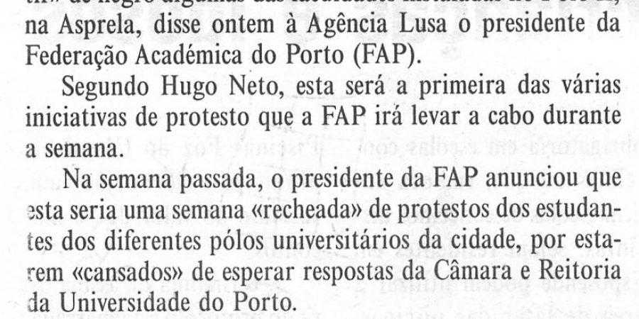"""(47) """"Faculdades do Porto vestidas de luto"""" - 2000 11 07 DMinho 12-90r"""