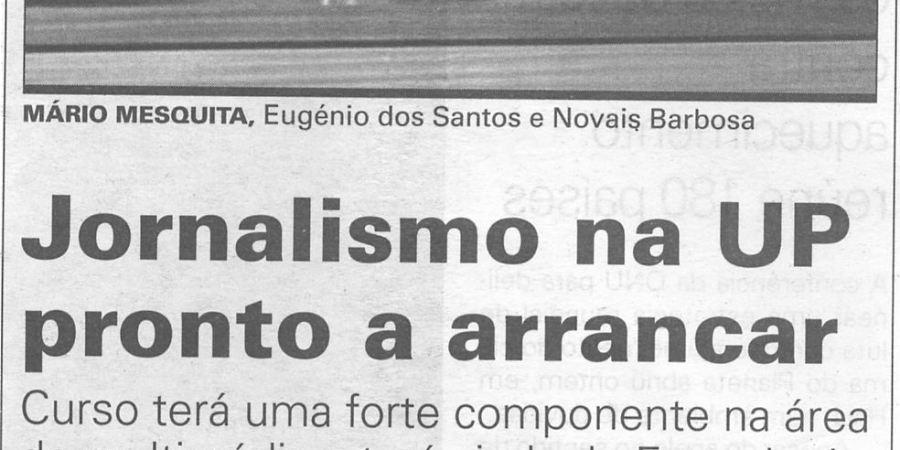 """(37) """"Jornalismo na UP pronto a arrancar"""" - 2000 11 14 JNoticias 15-200r"""