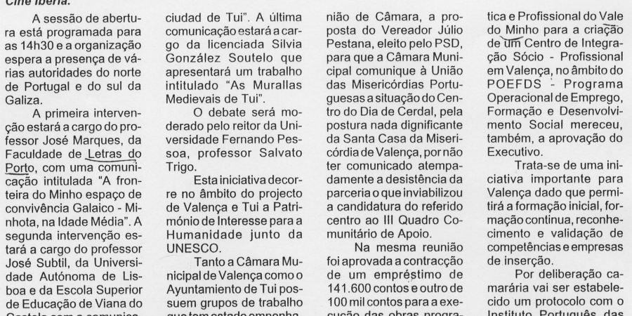 """(8) """"As relações Galaico-Minhotos"""" - 2001 02 16 NoticiasViana 05-330r"""