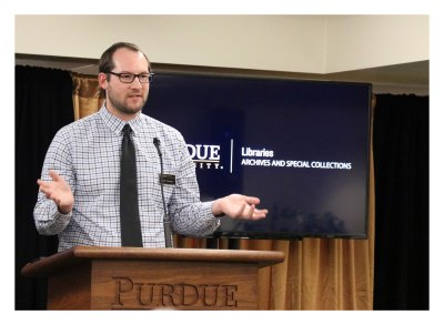 Neal Harmeyer, digital archivist at Purdue University Archives and Special Collections talks about his the new Purdue Campus Facilities and Buildings Historic Database at a reception Nov. 13, 2018.