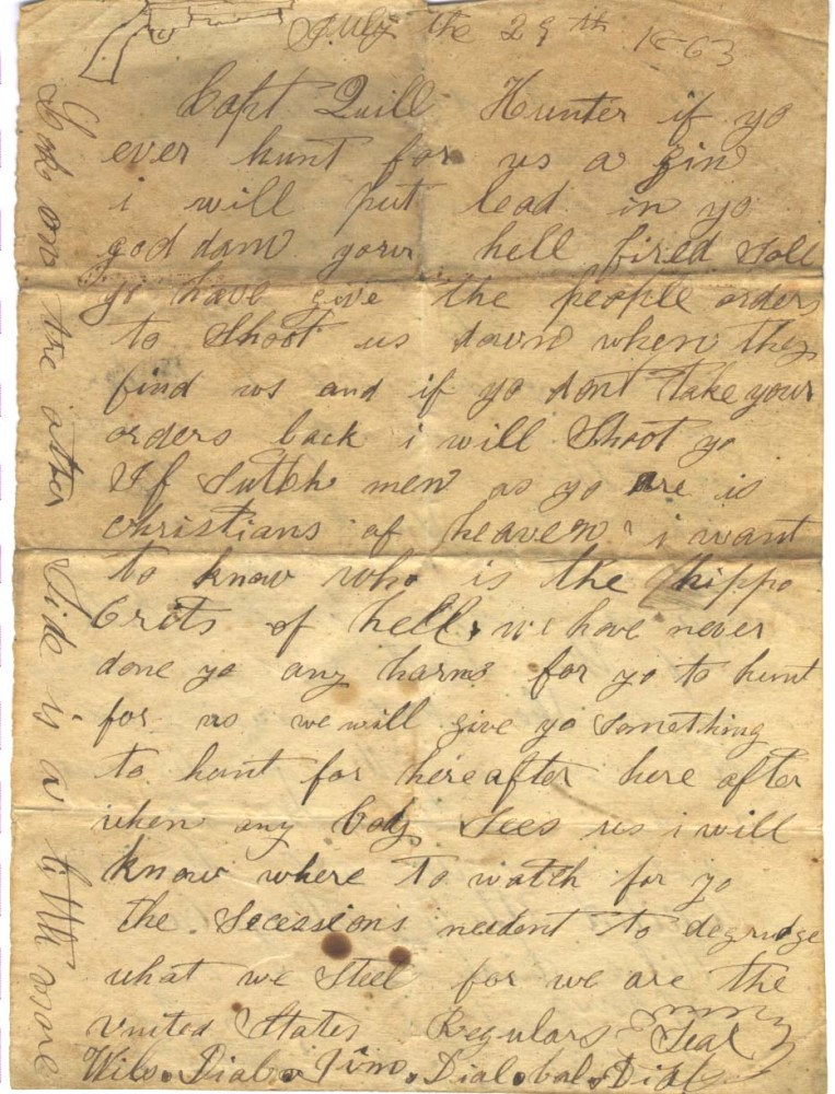 Letter written 150 years ago by three Southern Unionist Brothers  (1/2)