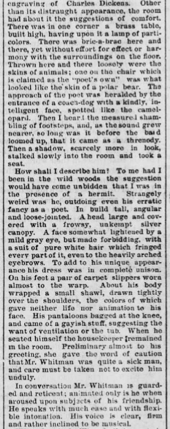 Second part of article with an interview with Walt Whitman.