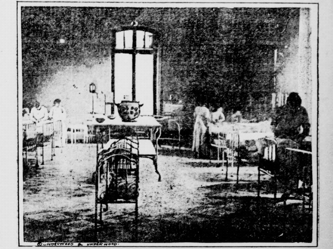 Nurses look after infants in a French nursery. Taken from the May 7, 1918 issue of the Perth Amboy evening news.