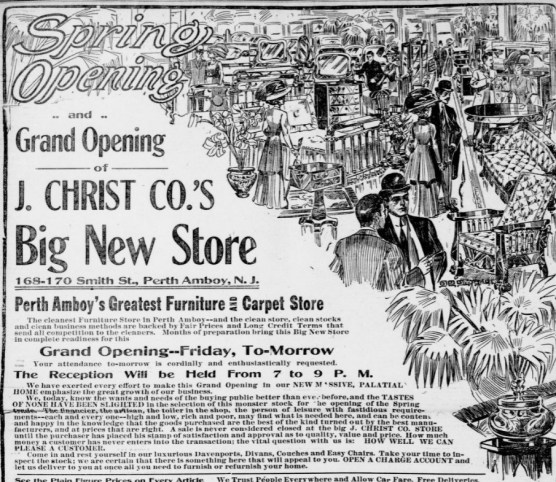 Advertisement for department store opening featuring drawing packed with images of well dressed people and furnishings.