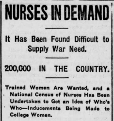 """Article titled """"Nurses in Demand"""" discusses the need to train nurses during wartime."""
