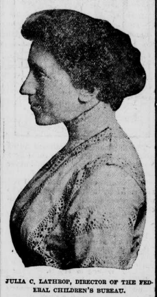 Side portrait of Julia C. Lathrop, Director of the Federal Children's Bureau. She is also a part of a committee that undertakes a massive project creating a national census of nurses.