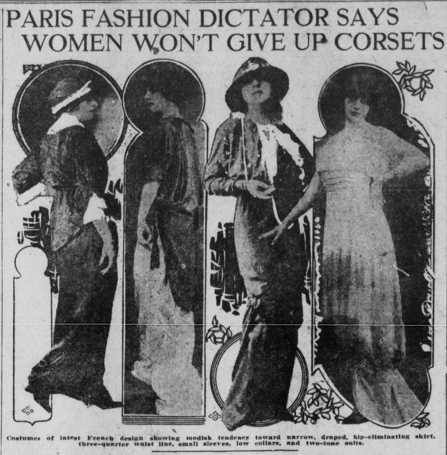 """Image of women wearing hip-eliminating skirts with the heading """"Paris Fashion Dictator Says Women Won't Give Up Corsets."""""""
