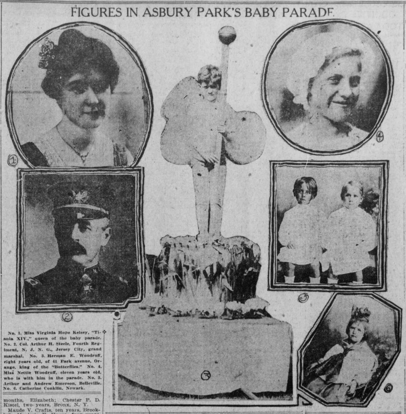 """Image with heading """"Figures in Asbury Park's Baby Parade"""" shows images of people involved in the baby parade."""