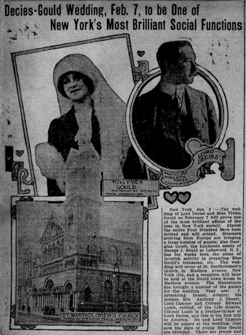 """Image of Vivian Gould and Lord Decies and St. Bartholomew's Church, where they are expected to marry. The heading is """"Decies-Gould Wedding, Feb. 7, to be One of New York's Most Brilliant Social Functions."""""""