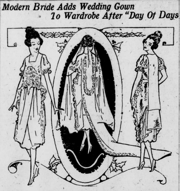 """Illustrated image of a woman wearing a more modern gown with the heading """"Modern Bride Adds Wedding Gown to Wardrobe After """"Day of Days."""""""