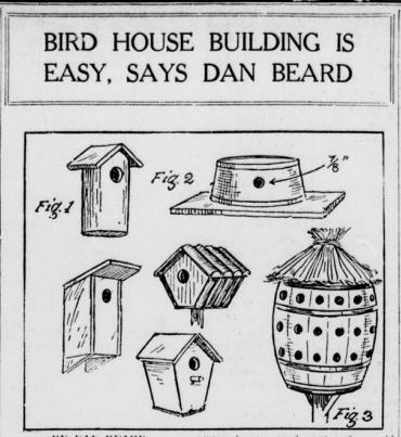 "Image of bird houses with the heading ""Bird House Building is Easy, says Dan Beard."""