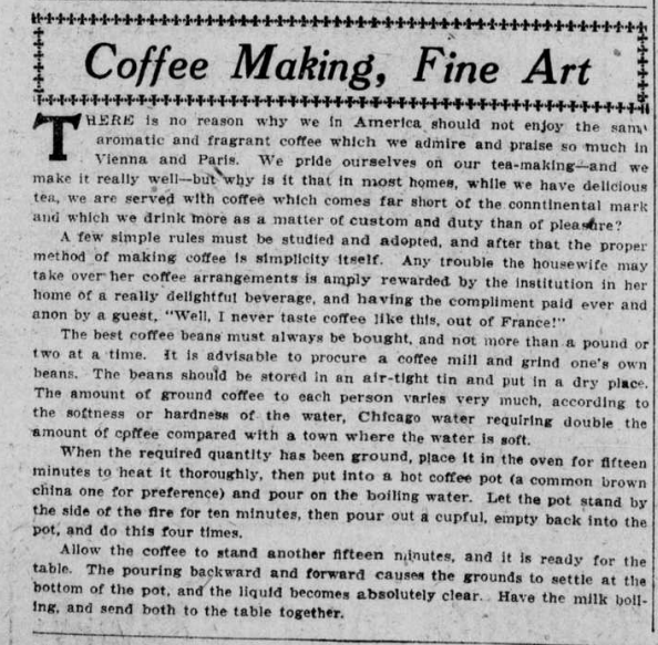 """Article with the heading """"Coffee Making, Fine Art."""""""