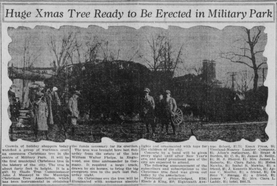 "Image of Christmas tree with heading ""Huge Xmas Tree Ready to be Erected in Military Park."""