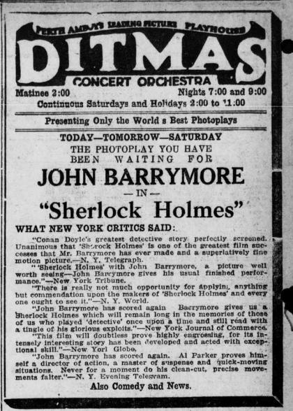 "Advertisement with John Barrymore starring in ""Sherlock Holmes."""