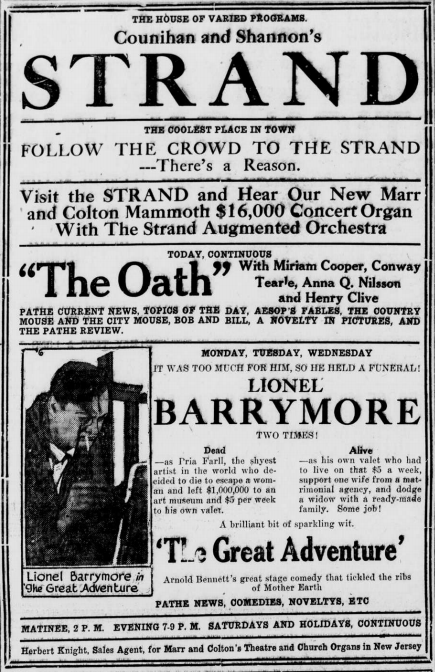 """Advertisement with Lionel Barrymore starring in """"The Great Adventure."""""""
