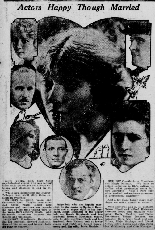 """Images of actors and spouses with the heading """"Actors Happy Though Married"""" with Lionel Barrymore shown on the lower center and his wife, Doris Rankin, on the right."""