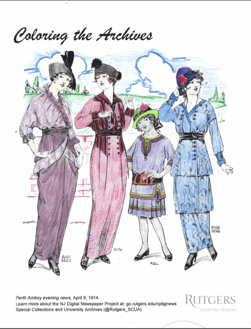 Sample coloring page, showing colored in women's fashions.