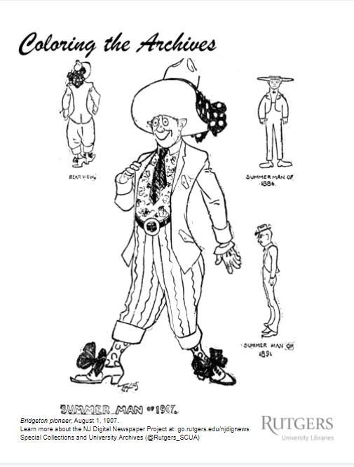 Sample coloring page showing men's fashion