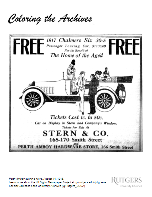Sample coloring page showing automobile.