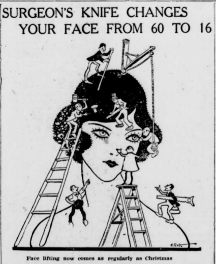"""Headline """"Surgeon's Knife Changes Your Face from 60 to 16"""" over image of sketch of a woman's head and shoulders with men on ladders with tools """"working"""" on her."""