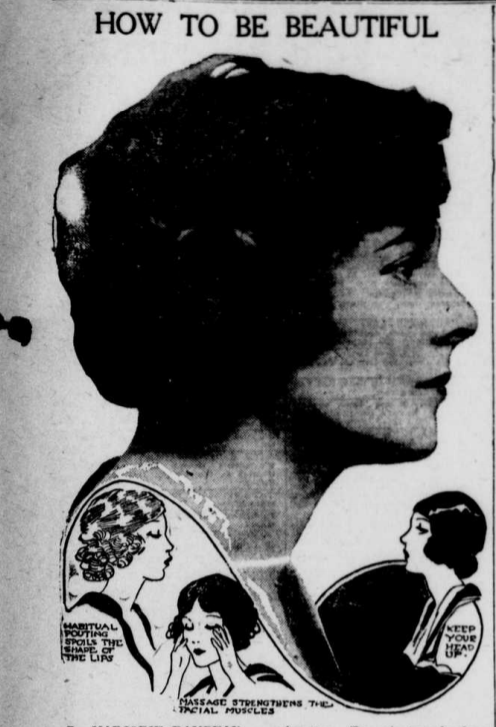 Photo of a woman's face in profile with sketches of women showing habits that affect the face 1. Habitual Pouting Spoils the shape of the lips. 2. Massage strengthens the facial muscles 3. Keep your head up.