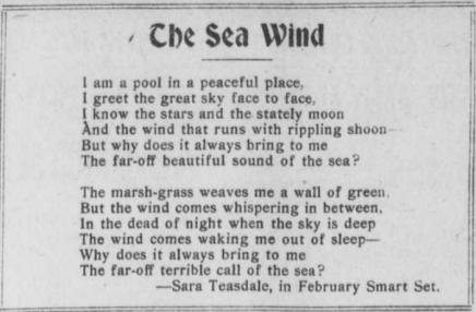 """Poem titled """"The Sea Wind"""" written by Sara Teasdale."""