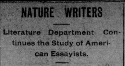 """Article titled """"Nature Writers: Literature Department Continues the Study of American Essayists"""" describes Thoreau's works."""