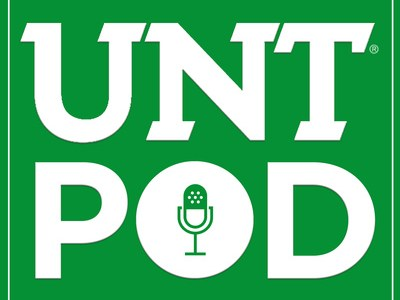 """Logo of UNT Pod site, features white letters on green background, with the """"O"""" in Pod containing an old-fashioned radio microphone"""