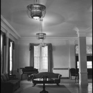 UNTA_U0458-097-584-04 Weston J. McConnell became president after President Marquis died. Mrs. McConnell decorated the first dorm, Marquis Hall. Chandeliers, sofas, and a grand piano graced the common room of the Hall.