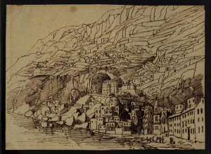 Mendelssohn's pen-and-ink drawing of Italy's Amalfi Coast