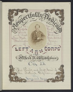 A penmanship sample submitted by Alfred Whitehouse, incorporating his own photo. Manuscript Division.