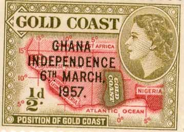 A commemorative stamp celebrating the independence of Ghana while still bearing the colonial name of the country, Gold Coast