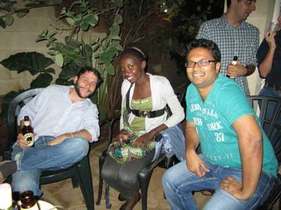 Josh Weinstein (L) enjoying a night out with his friend Ravi Ramrattan (R)