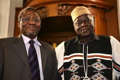 Adama Samassekou (right) with LSE's African Chair, Thandika Mkandawire