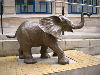 This bronze elephant is one of several sculptures around the LSE campus
