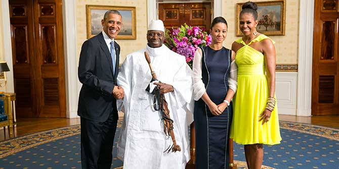 President Jammeh used this photo on Welcome Home t-shirts after attending the US-African Leaders Summit in 2014 Credit: Office of the White House (Amanda Lucidon)