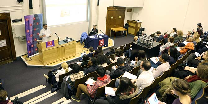 Sean Jacobs addresses an audience at LSE on 17 March