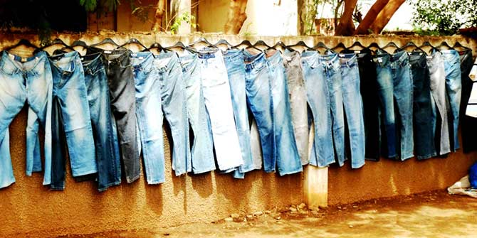 Jeans of every hue: second-hand container sale on the Kairaba Avenue, Kanifing  © Sylvia Chant