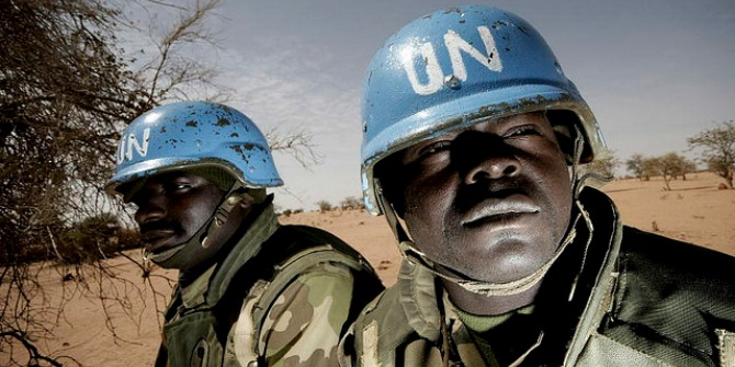 Members of the Nigerian battalion of the United Nations-African Union Hybrid Mission in Darfur (UNAMID) on patrol during a community meeting between UNAMID officials and Arab nomads. 16/Mar/2008. Credit: United Nations Photo CC BY-NC-ND 2.0