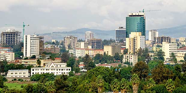 A view of the business district of Addis Ababa