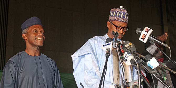 Nigeria's new President Muhammadu Buhari with Vice President Yemi Osinbajo Credit: Juju Films via Flickr (https://flic.kr/p/qXBoko)