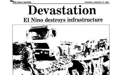 A photo in the Daily Nation on January 27, 1998 shows an oil tanker negotiating what remained of Kambu Bridge, Mombasa, after it was swept away by floods. The estimated cost to roads and bridges damaged by the El Nino rains was $670 million. Credit : PHOTO | NATION ARCHIVES