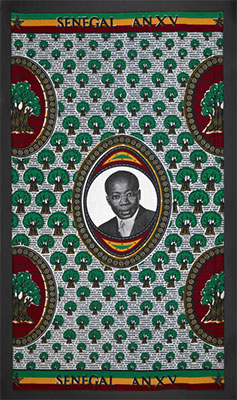 Printed cloth with portrait of Léopold Sédar Senghor (1906–2001), president of Senegal, poet and intellectual Collet collection, 1975 We have been unable to locate the copyright holder for the original print designer of the Senghor cloth. Please contact copyright@bl.uk with any information you have regarding this item