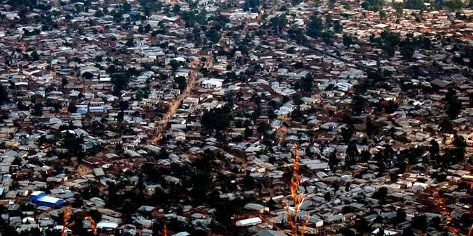 A bird's eye view of Blantyre's biggest slum, Ndirande