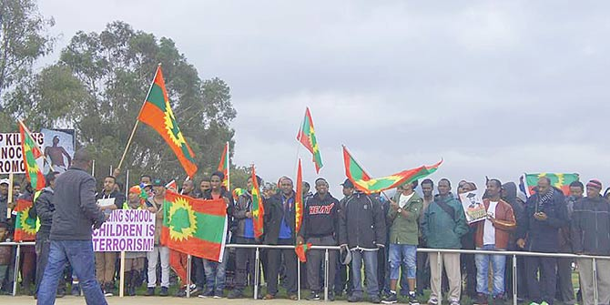 Oromos around the world, including Canberra Australia pictured) have been protesting in solidarity with those in Ethiopia Photo Credit: Gadaa.com