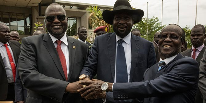 Riek Machar Teny-Dhurgon, First Vice-President of the Republic of South Sudan; President Salva Kiir; and James Wani Igga, Second Vice-President of the Republic of South Sudan join hands as the Transitional Government of National Unity is sworn in on April 2016 Photo Credit: UN Photo via Flickr (http://bit.ly/2anlXoG) CC BY-NC-ND 2.0